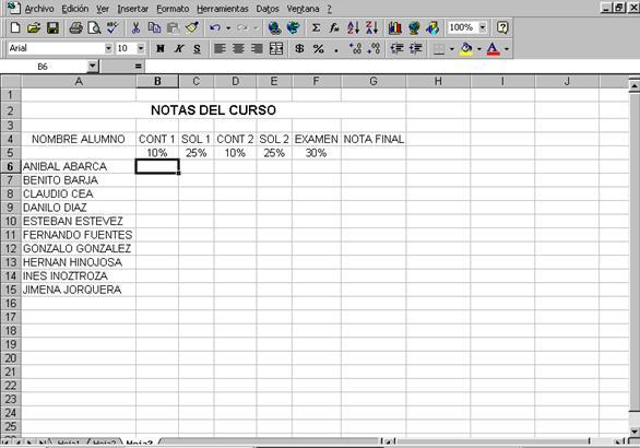 Copiar en Excel como muestra la figura